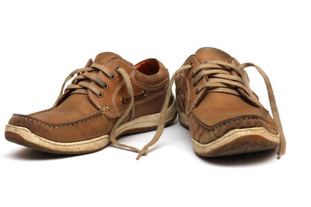 shoe laces: brown man shoes isolated on a white background  Stock Photo
