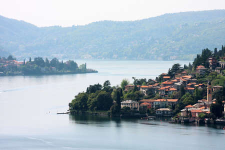 old town on a lake como, italy