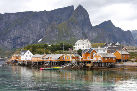 wooden house at the Lofoten archipelago, norway