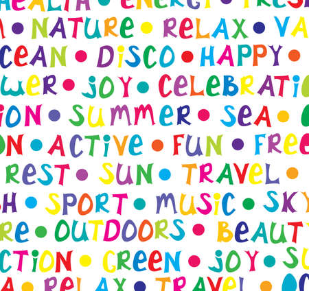 multicolored words about happy summer