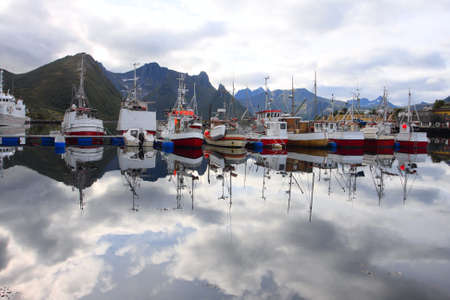several fiching ships moored to the wharf. Senja island, Norway  photo