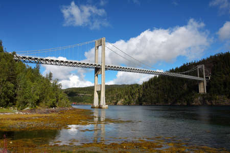 suspension bridge at the norwegian mountains  photo