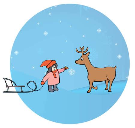 girl with sledges feeding a deer   Stock Vector - 16033212