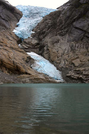 view of famous norwegian glacier Briksdalbreen  photo