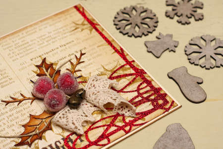 collage - hand made scrapbooking post card lying on a table  photo