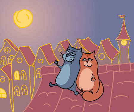 rendezvous: romantic cats rendezvous on a roof at the night  Illustration