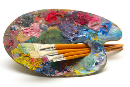 pallette: pallette with brushes on a white background
