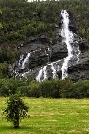 waterfall in the woods, norway