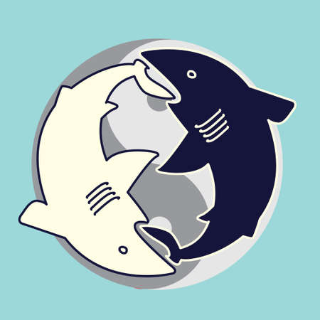 two sharks eating each other. Yin Yang concept  Vector