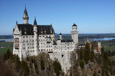 turrets: exterior of beautiful medieval palace Neuschwanstein, Bavaria, Germany
