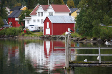 poling: wooden house at the Lofoten archipelago, norway