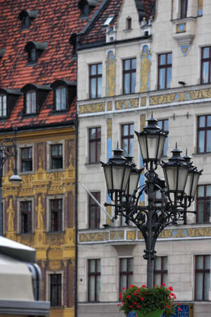street lamps and beautiful buildings defocused at the background, wroclaw Stock Photo - 17472335