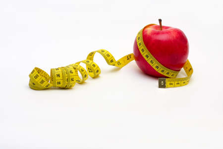 metre: apple  with metre on a white background