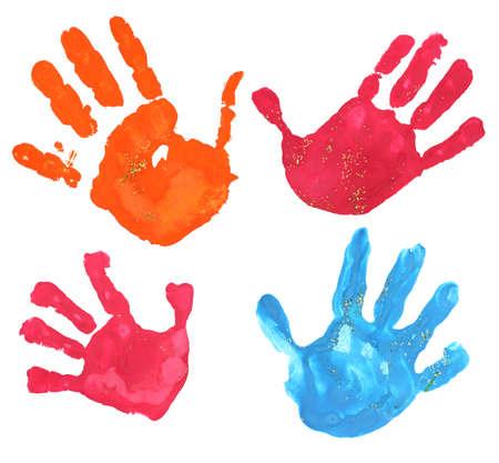 hand print: several multicolored children fingerprints on a white