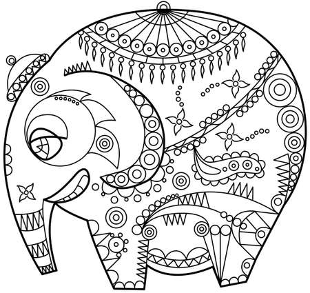 east indian: exotic ornated elephant outline