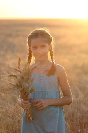 joys: young girl joys on the wheat field  at the sunset time