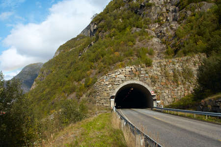 tunnel at the norwegian mountains  photo