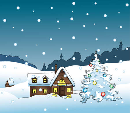 night winter rural house with Christmas tree  Vector