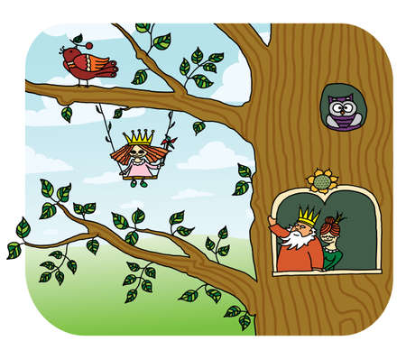 elf queen: forest elfes living at the fairy tree. Princess with her parents  Illustration