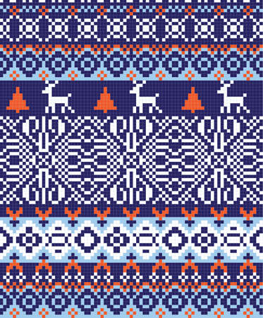 traditional nordic pattern at blue, white and red tones  Vector