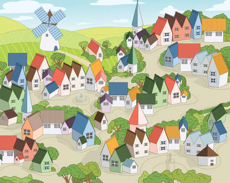 fairy town with multicolored toy houses, mill and fields with blue sky at background  Vector