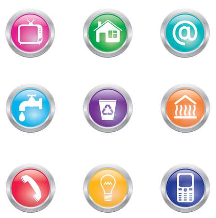servicios publicos: facturas de servicios públicos expeniques mensuales iconos EPS8 multicolores