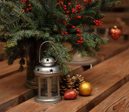 Christmas Decor on  wooden table  photo