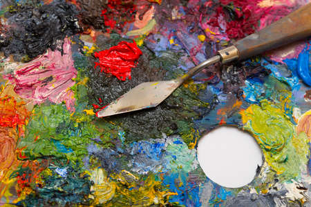 pallette: pallette with brushes on a white background  Stock Photo