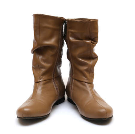 leather woman: brown leather woman boot on a white