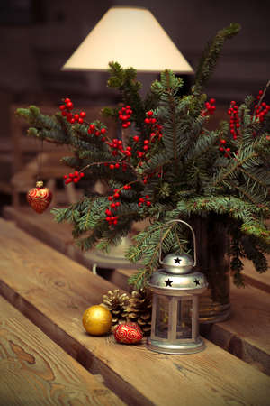 Christmas Decor on  wooden table