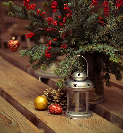 Christmas Decor on  wooden table  photo