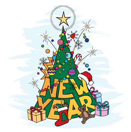 cartoon new: cartoon new year tree with gifts and other christmas objects
