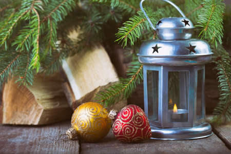 Christmas Decor at the wooden table photo