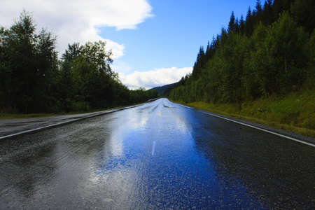 carretera mojada después de la lluvia