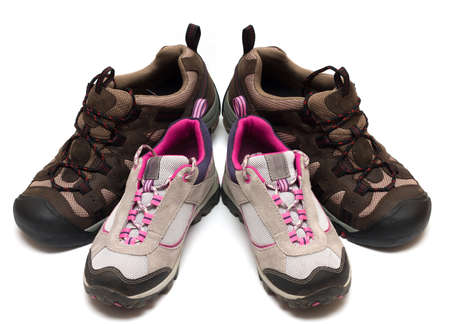 two pairs of trekking shoes. For father and child photo