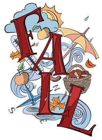 temp: abstract autumn background with umbrella, rain, apples, mushrooms and other fall items Illustration