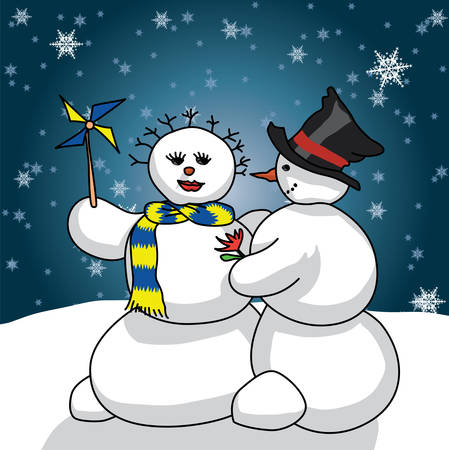 snowman giving a gift to her snow woman. New Year and st Valentine concept Vector