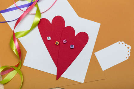 scrapbook background. Card and tools with decoration. valentines day photo