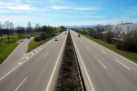 autobahn: view of the autobahn in Germany Stock Photo