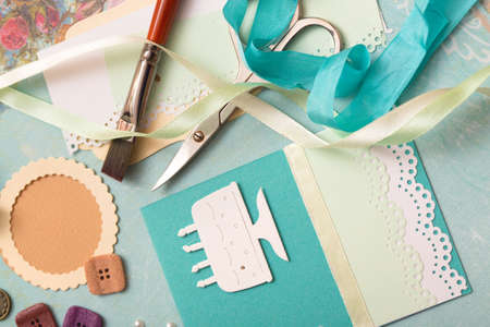 birthday cards: Card and tools with decoration Stock Photo