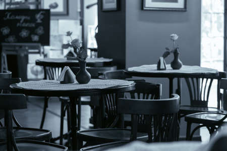 tables and chairs in a cafe photo