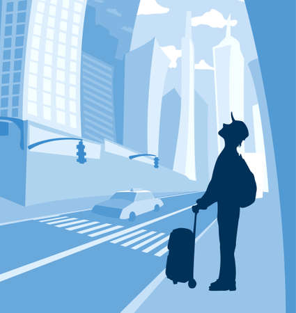 man with bag and backpack standing and looking up at the big city skyscrapers