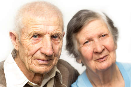 the majestic: portrait of grandparents on a white background