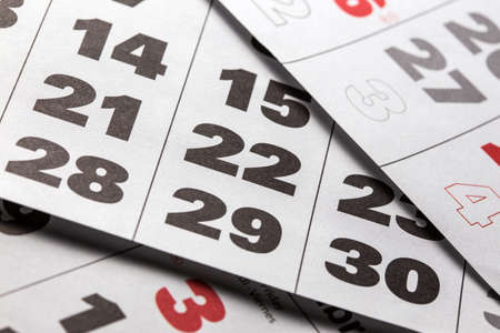 almanacs: background made of calendar dates close up Stock Photo
