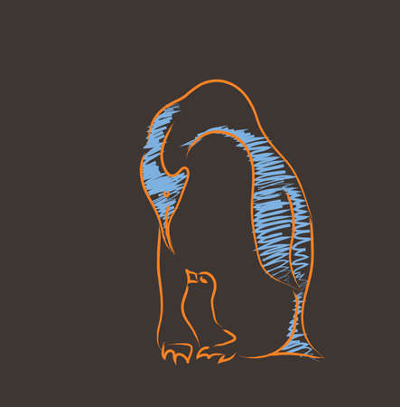 poult: pinguin with the chick abstract illustration on a brown