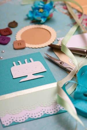 background album. Card et des outils à la décoration Banque d'images