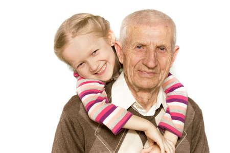 portrait d'une petite-fille et grand-père, close-up