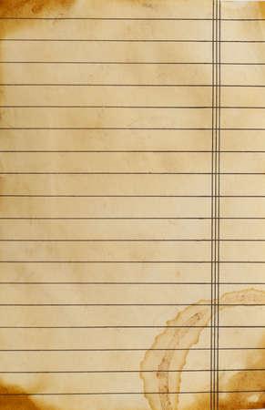 hoja en blanco: close up de grunge fondo forrado de papel Foto de archivo