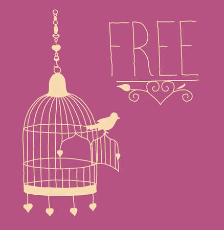 jail bird: free as a bird. Bird sitting on an opened cage and ready to fly
