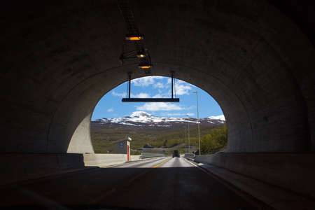 tunnel view: view from the tunnel on valley of the mountains. Norway